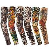 Vordas Mangas Tatuadas, 6PCS Tatuajes Temporales Brazo Medias Falso Tatuaje Temporal Mangas, Ideal para Fiestas de Disfraces (E)
