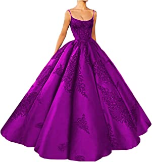 Women's Long Embroidery Spaghetti Straps Quinceanera Dresses Ball Gowns