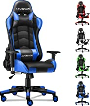ALFORDSON Gaming Chair Racing Chair Executive Sport Regan Office Chair with PU Leather Armrest Headrest Home Chair in Blue...