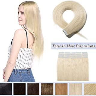 40 Pieces 100g Rooted Tape In Hair Extensions Human Hair Invisible Seamless Skin Weft Highlight Double Side Tape Remy Human Hair Extensions Balayage Long Straight For Women (12'',#60 Platinum Blonde)