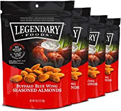 Legendary Foods Gourmet Flavored Almonds | Keto Diet Friendly, Low Carb, High Potassium, No Sugar Added, Good Protein & Fat | Buffalo Blue Wing (4oz, Pack of 4)
