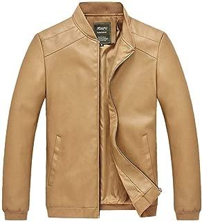 Soft and Close Fashion Men's PU Jacket, Casual Men's Zipper Jacket, Long-Sleeved Jacket Slim wl (Color : Khaki, Size : L)