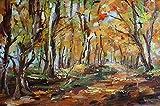 Bild Landschaft im Herbst Kunst Original Ölgemälde 30x20 cm