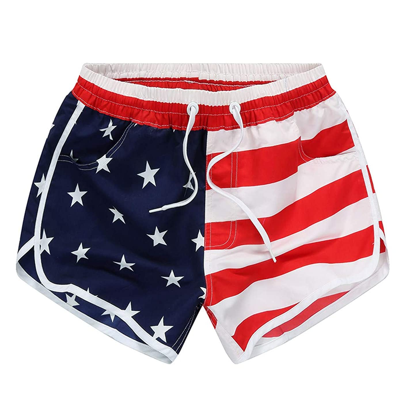 hositor Womens Shorts, Ladies Casual Beach Pants American Flag Stripes Stars Print Shorts Sweatpants