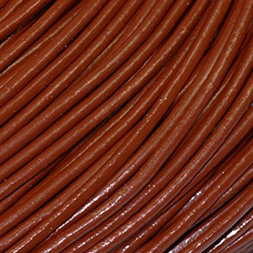 皮ひもBタイプ 1m単位でお切りします 太さ2mm ミルクチョコ 明るい茶色 牛本皮 丸革紐