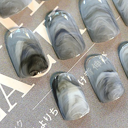 Pinzhi 24 x Grey Marbre Ongles Ongles Courts Faux Ongles Acrylique Pleine Couverture Ongles