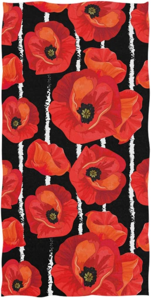 ZzWwR Beautiful Red Max 66% OFF Poppies Striped Soft and Highly White Black Max 81% OFF