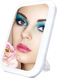 آینه آرایشی با چراغ-TOP4EVER صفحه لمسی آینه غرور روشن ، گزینه های دوگانه قدرت ، آینه لوازم آرایشی قابل حمل