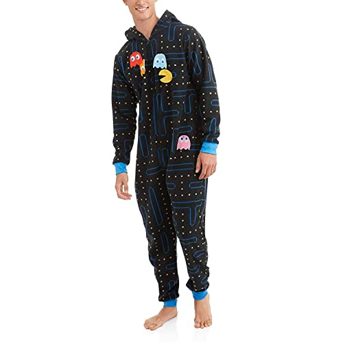6aa34a7a9a48 Pacman Gamer Adult Novelty Hooded Onesie Pajama with Detachable Pieces