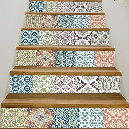 Yizunnu Calcomanías para escaleras de vinilo, autoadhesivas para colocar sobre escaleras y azulejos, 7 pulgadas de ancho x 39 pulgadas de largo (juego de 6)