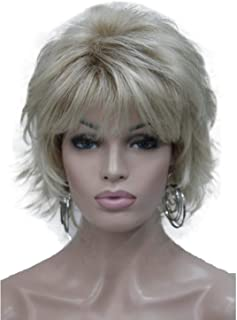 Wiginway Short Wavy Wig for Women Layered Natural Look Synthetic Golden Ombre 6 Inch