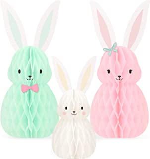 NICROLANDEE Garden Baby Shower Decorations - 3Pcs Mini Easter Bunny Family Honeycomb Table Centerpiece Kit for Fairy Theme...