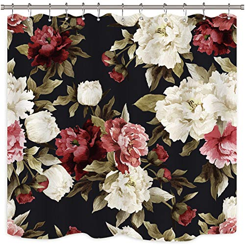 Riyidecor Watercolor Floral Shower Curtain Rustic Flowers Rose Girl Retro Leaves Blossom Peony Woman Waterproof Fabric Bathroom Home Decor Set 12 Pack Plastic Hooks 72Wx72H Inch