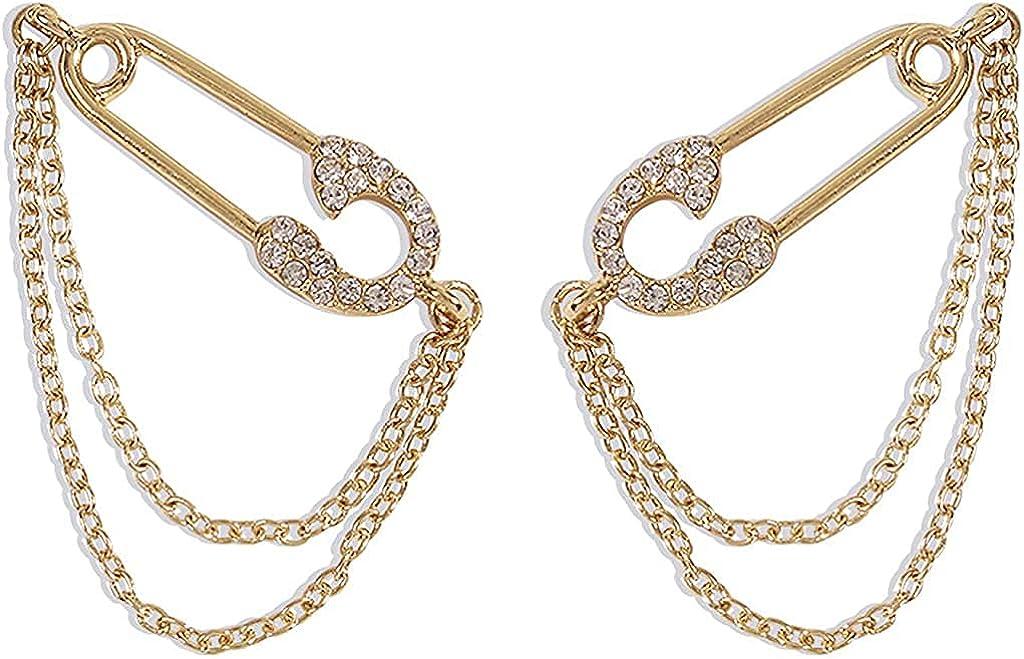 ANDPAI Unique Personalized CZ Safety Pin Chain Dangle Drop Earrings Hypoallergenic 14k Gold Punk Paper Clip Stud Earrings for Women Girls Cubic Zirconia Hoop Earrings Jewelry Gifts