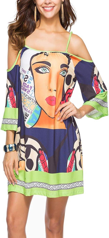 DDSOL Women's Ethnic Bohemian Sundress Cold Shoulder Spaghetti 3 4 Sleeve Beach Short Dress Dark bluee