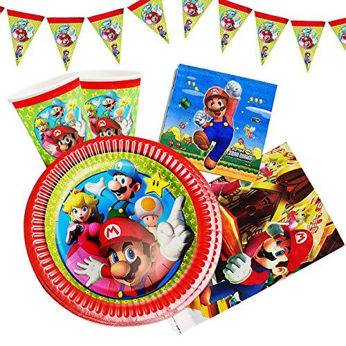 Gxhong Gebutstag Party Set 82-Teiliges Party Set Super Mario Teller Tassen Servietten Besteck Banner Tischdecke Geburtstag Geschirr Deko Kit, Bunt Partygeschirr für Kindergeburtstag, Hochzeit