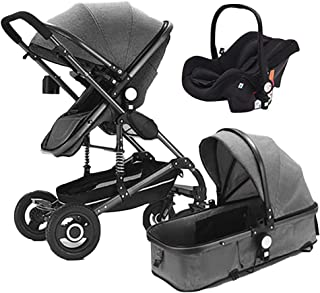 Baby Stroller,Babyfond High Landscape Folding Portable Lightweight Baby Carriage Travel System Pram Pushchair Cradle for Newborn (Gray)