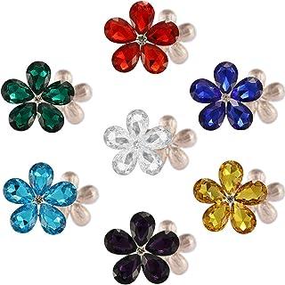 Jyukan Rhinestone Flower Buttons Embellishments Flatback Crystal Rhinestone for Clothing/DIY Crafts,7pcs,Teardrop