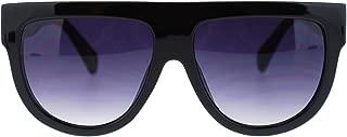 Womens Flat Top Thick Plastic Oversize Boyfriend Fit Sunglasses