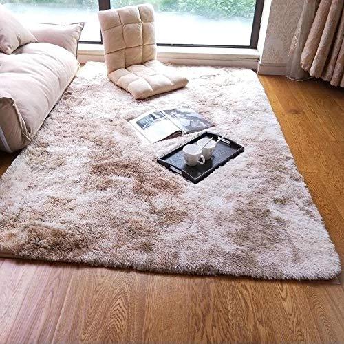 SDAFSA Innenteppicheweiche Seidenteppiche Für Wohnzimmer Schlafzimmer Kinderzimmer Teppiche Home Tie-Dye Farbverlauf Kunstpelz Teppich Flauschige Teppich Teppiche-Dunkles Kamel_120 X 200 cm