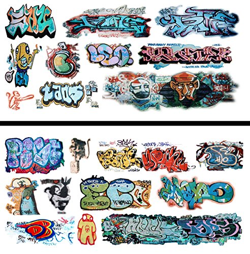 HO Scale Graffiti Waterslide Decals 2-Pack #16 - Weather Your Box Cars, Hoppers, & Gondolas!