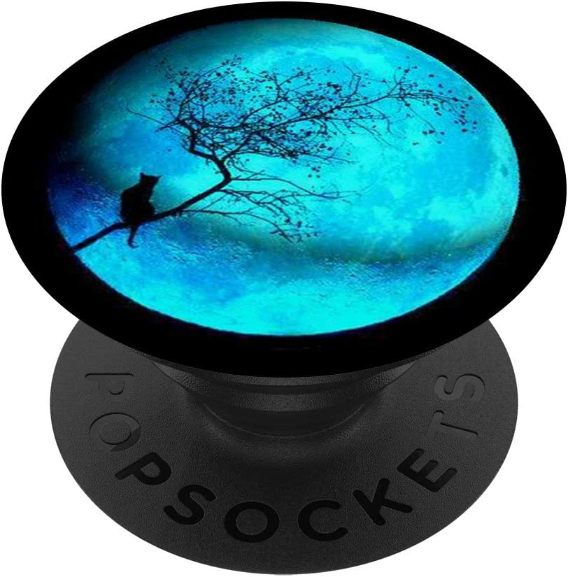 Cool Teal Moon Design With Omaha Mall Cat Background Sw PopSockets Black on Max 77% OFF
