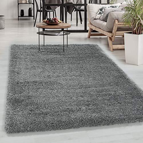 Carpetsale24 Hochflor Teppich » FLUXY «, Wohnzimmerteppich, Unifarben Shaggy, Rechteckig, HELLGRAU, Maße:160 cm x 230 cm