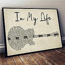 The Beatles in My Life Guitar Lyrics Horizontal Poster No Frame (36 X 24 (Horizontal))
