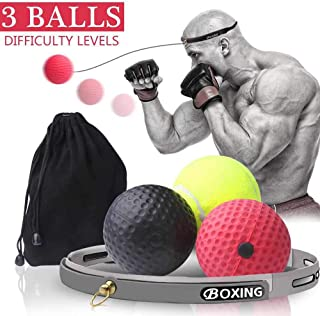 Boxing Reflex Ball, 3 Difficulty Level Training Boxing Balls with Headband, Sports Training Punch Fight React Head Ball, Speed Hand Eye Coordination and Reaction Boxing Set for Kids and Adults