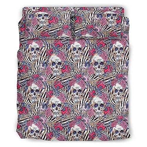 DOGCATPIG Coverlet Rose Skull Classic Geométrico Diamante Cosido Patrón Pareja estilo ropa de cama para familia blanco 240x264cm