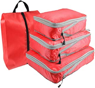 Travel Storage Bags Waterproof Luggage Organizer Pouch Packing Cube Clothing Sorting Packages Pack of 4pcs Red
