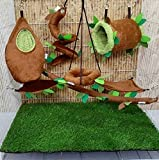 HOT! 7 Pcs/Set Cute Sugar Glider Hamster Marmoset Squirrel Chinchillas Small Pet Hanging Tunnel + Oval Light Brown Cage Set Forest Pattern Get Free 1 Small Pet Treats, PB's REPUBLIX