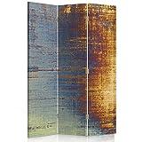 Feeby Frames Biombo Impreso sobre Lona, tabique Decorativo para Habitaciones, a Doble Cara, de 3 Piezas (110x180 cm), Abstracto-ABSTRACCIÓN, Arte, Retro, Color, Azul, Amarillo, Multicolor