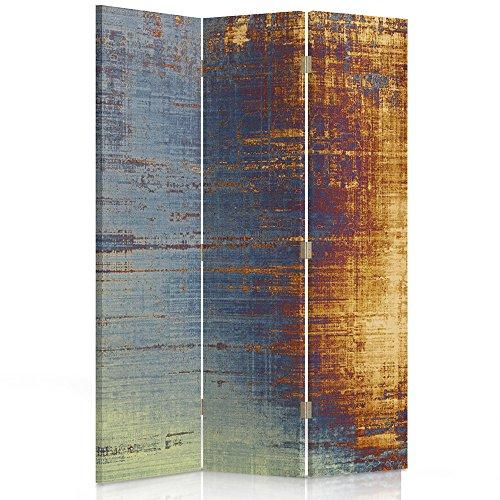 Feeby Frames Biombo Impreso sobre Lona, tabique Decorativo para Habitaciones, a Doble Cara, de 3 Piezas (110x180 cm), Abstracto-ABSTRACCI脫N, Arte, Retro, Color, Azul, Amarillo, Multicolor