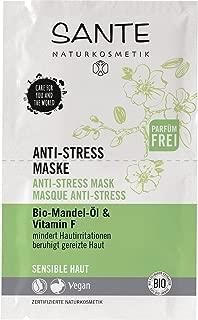 SANTE Naturkosmetik Anti-Stress Maske, Beruhigt gereizte Haut, Spendet intensive Feuchtigkeit, 5x8g Multipack