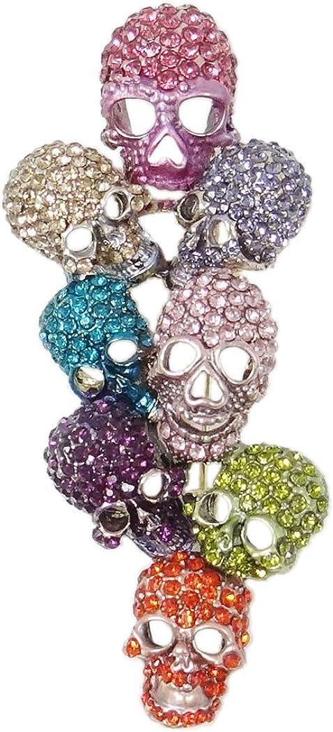 EVER FAITH Austrian Crystal Halloween Gorgeous 8 Skeleton Head Cluster Brooch