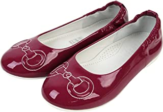 Kids Magenta Patent Leather Horsebit Stitch Ballet Flat 297467
