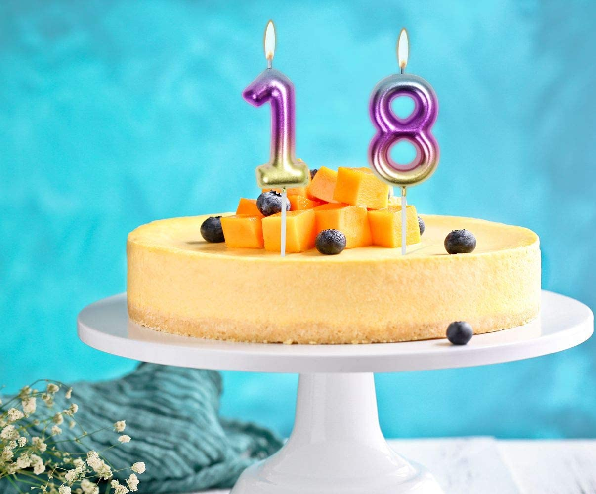 2.76 Birthday Candles 1st One Year Cake Baby Roman Cool Number Candle No 1 9 18 21 30 40 50 60 70 Cake Topper Numeral Candle Party Wedding Anniversary Decorations INS 5