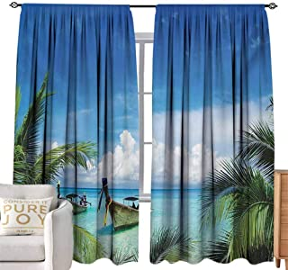 Rod Pocket Blackout Curtains Travel,Exotic Hawaiian Beach with Palm Trees and Fishing Boats Paradise Picture,Blue Green Turquoise W108 x L108 inch,for Living Room and Bedroom