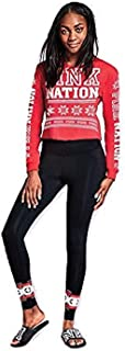 Victoria's Secret Pink Nation Holiday Campus Cropped Long Sleeve Tee & Cotton Flat Legging Medium NWT