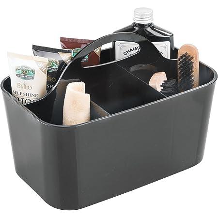mDesign caisse pour nettoyants de chaussures noire – boîte à cirage avec 4 compartiments – boîte de rangement en plastique solide – avec poignée – 15,24 cm x 24,4 cm x 17,1 cm