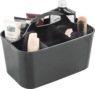 mDesign caisse pour nettoyants de chaussures noire – boîte à cirage avec 4 compartiments – boîte de rangement en plastique...