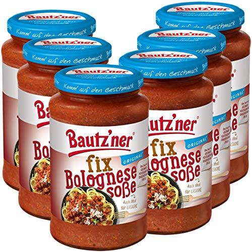 Bautz'ner Fix Bolognese Soße, 6 x 400ml Glas, fertige Bolognese, 6er Pack