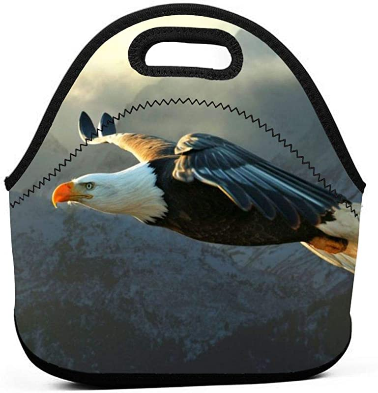 Lunch Tote Bags Bird Eagle Neoprene Lunch Handbag Food Zipper Storage Lunch Box For Men Women Kids