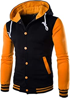 Clearance Forthery Mens Fleece Pullover Hoodies Sweatshirt Zipper Patchwork Outwear