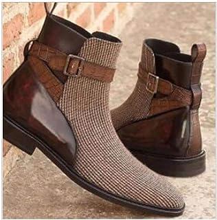 Grande Taille Bottes Courtes Hommes Mode Entreprise Robe Bottes Tirer-sur Bottines Talons à Bloc Bas Ceinture Chaussures-