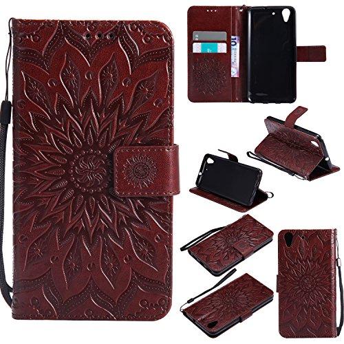 Janeqi Funda Huawei Honor 5A/Y6 II(5.5') - Flip Cover + Tarjeta + Soporte + Funda de Piel Anti-caída Cáscara Case Cover para Huawei Honor 5A/Y6 II(5.5') [marrón]