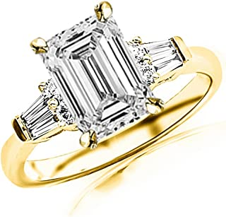 1.95 Ctw 14K White Gold Baguette Round Emerald Cut GIA Certified Diamond Engagement Ring (1.7 Ct H Color VS1 Clarity Center Stone)