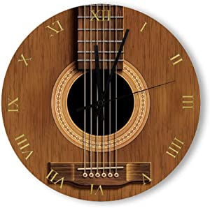 PotteLove 12 Inch Silent Vintage Wooden Round Wall Clock Non Ticking Quartz Battery Operated, Natural Wood Look Acoustic Guitar Music Rustic Chic Style Wooden Round Home Decor Wall Clock