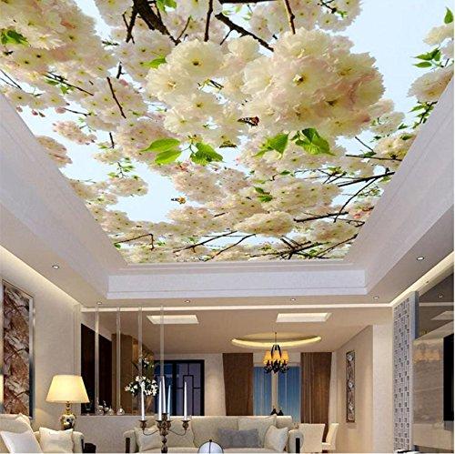 Weaeo Benutzerdefinierte Große 3D Stereo Weiße Blumen Fototapete Deckengemälde Wohnzimmer Hotel Non-Woven Decke Fresko3D-280X200Cm